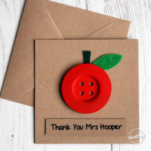 Apple Thank You Teacher Card Buttons Handmade