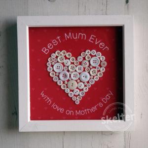 Best Mum Ever Button Heart Frame