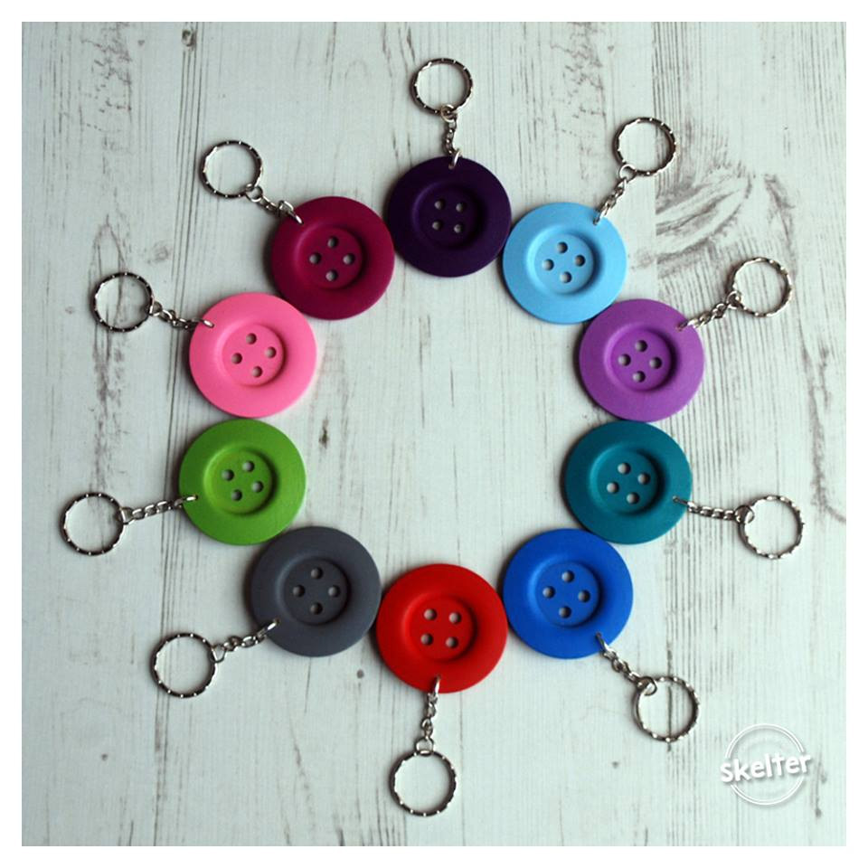 Big Button Keyrings available in 10 different colours