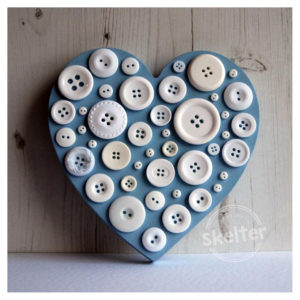 Large Freestanding Blue Button Heart