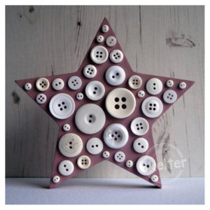 Large Freestanding Pink Button Star With White Buttons