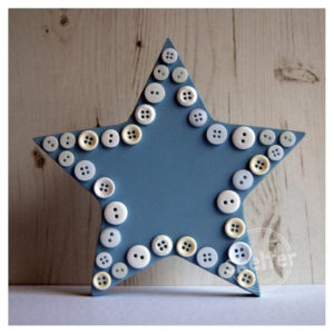Large Freestanding Blue Star With Button Outline