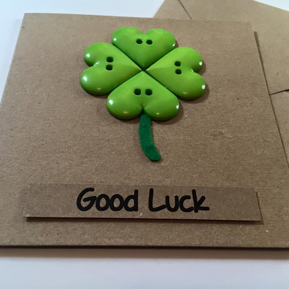 Good Luck Card Handmade Button Four Leaf Clover