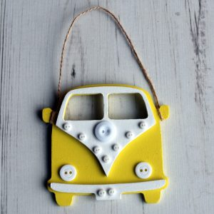 Yellow hanging button campervan