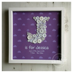 Large Purple Personalised Clouds Name Frame