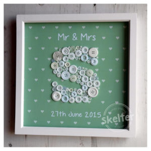 Large Personalised Green Mr & Mrs Frame With Hearts