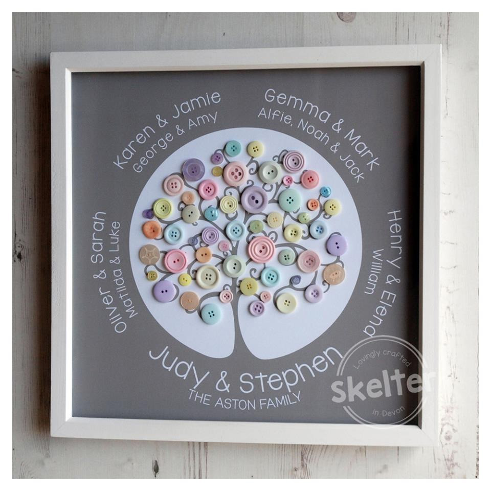 Large Personalised Family Tree With Pastel Buttons In Frame