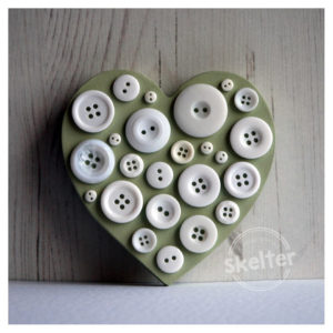 Small Freestanding Green Button Heart