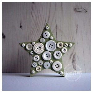 Small Freestanding Green Button Star With White Buttons