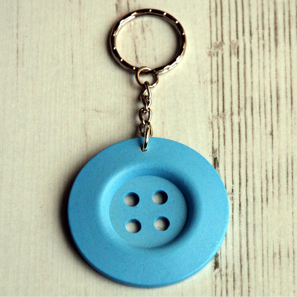 Light blue big button keyring