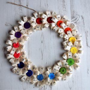 Tape measure button bloom wreath