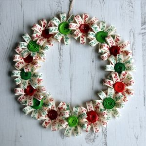 Festive button bloom Christmas wreath