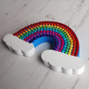 Freestanding button rainbow
