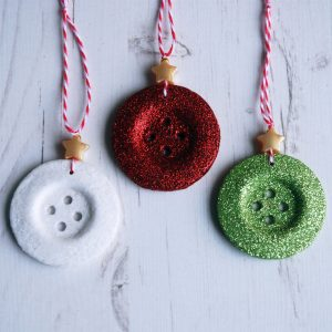 Set of three glittery button Christmas decorations - red, green, white