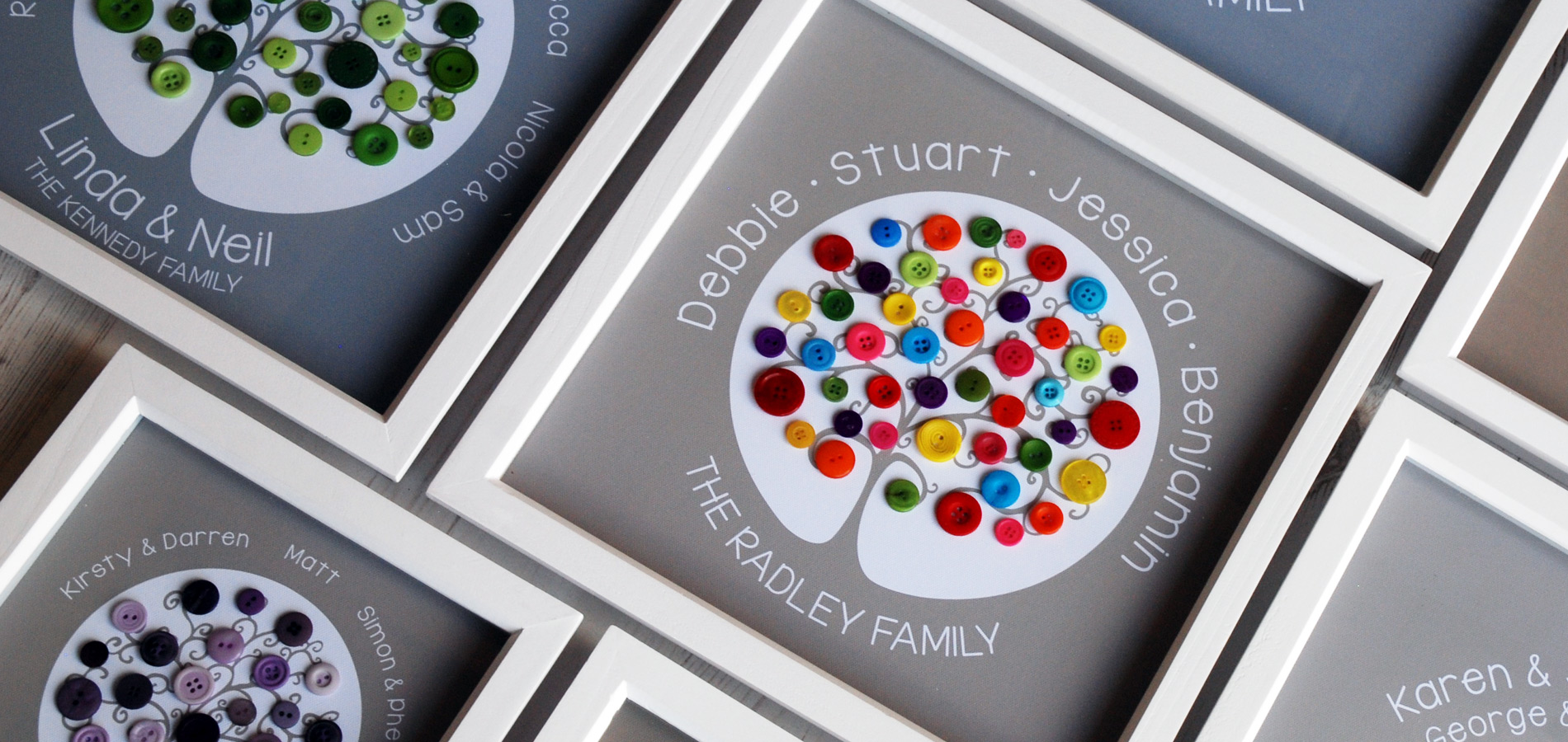 The perfect, unique gift - our family trees are personalised to include the names of up to three generations