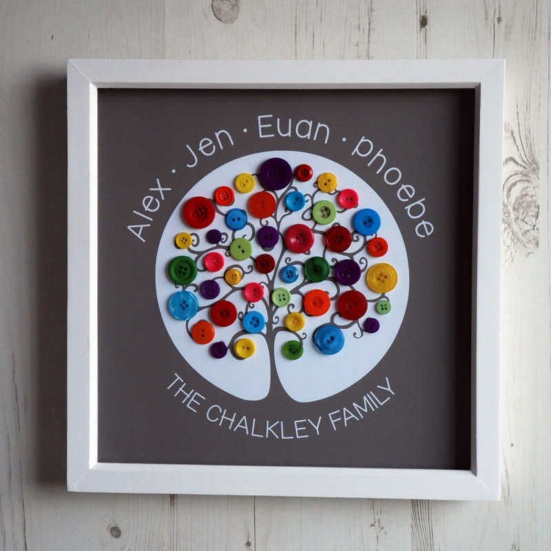 A medium family tree with rainbow buttons on a dark brown background