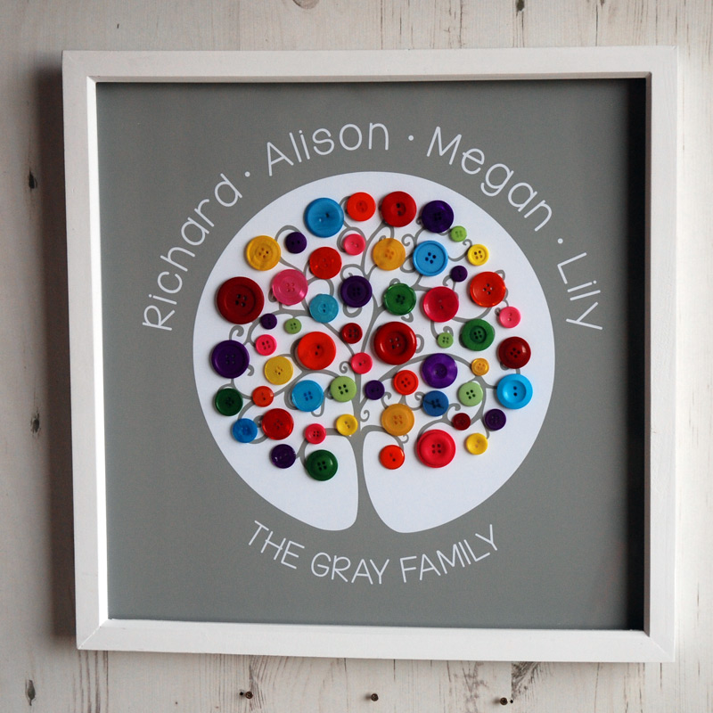 A large family tree with rainbow buttons on a light brown background