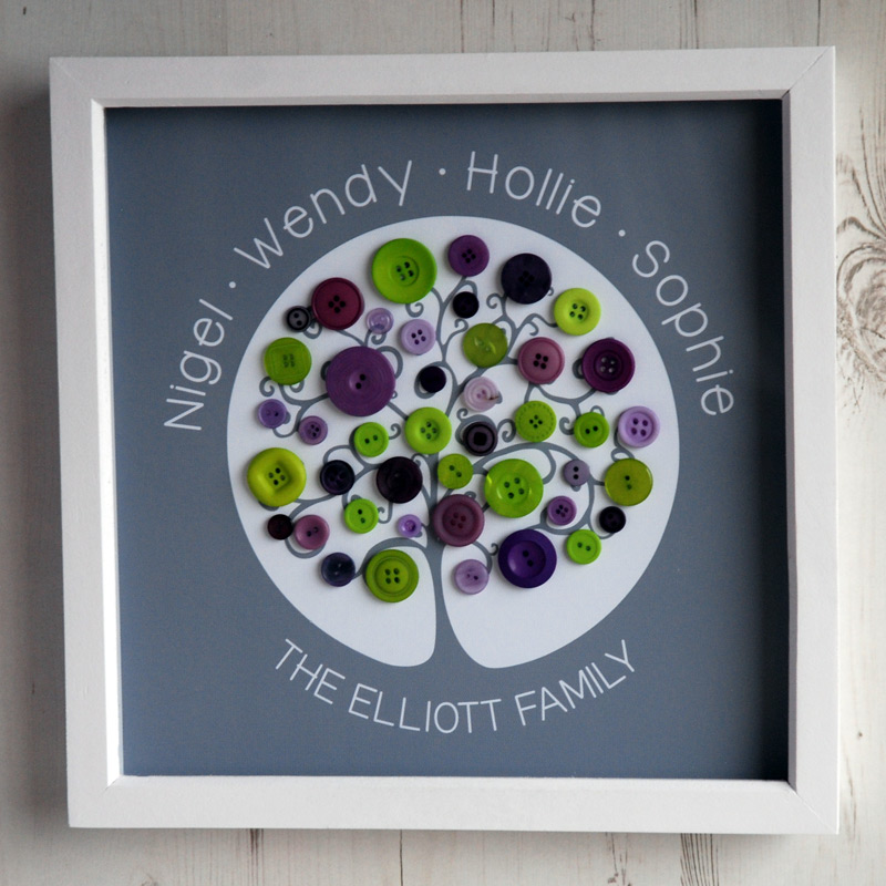 A medium family tree with green and purple buttons on a grey background