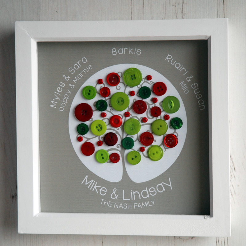 A small family tree with red and green buttons on a light brown background
