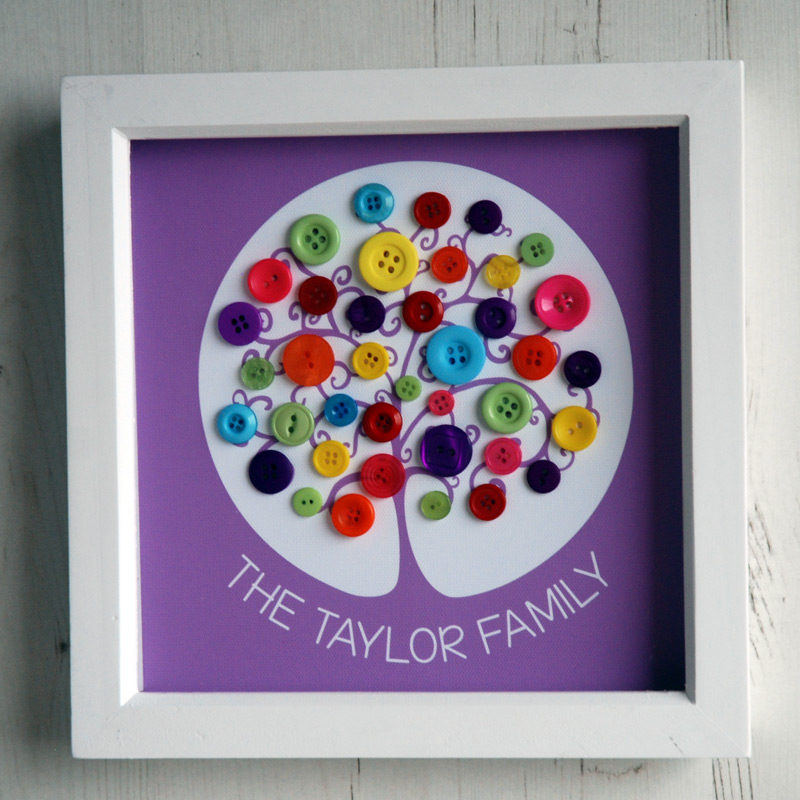 A small family tree with rainbow buttons and a custom purple background