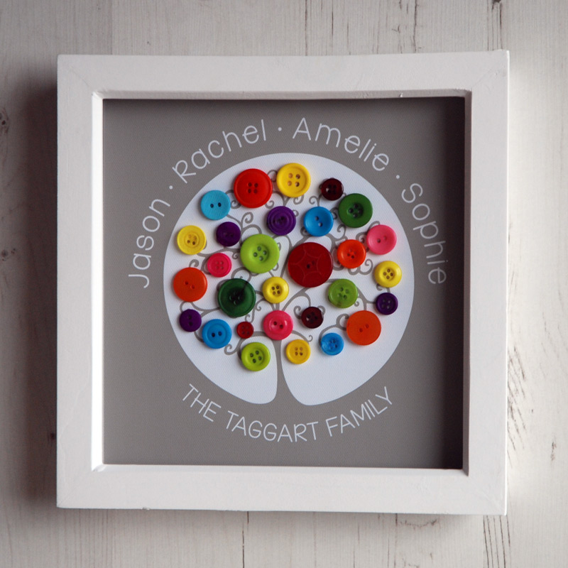 A small family tree with rainbow buttons on a light brown background