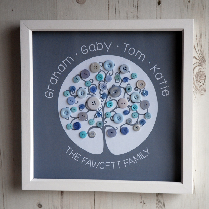 A medium family tree with pastel buttons on a grey background
