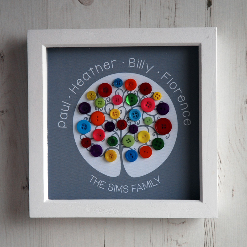 A small family tree with rainbow buttons on a grey background