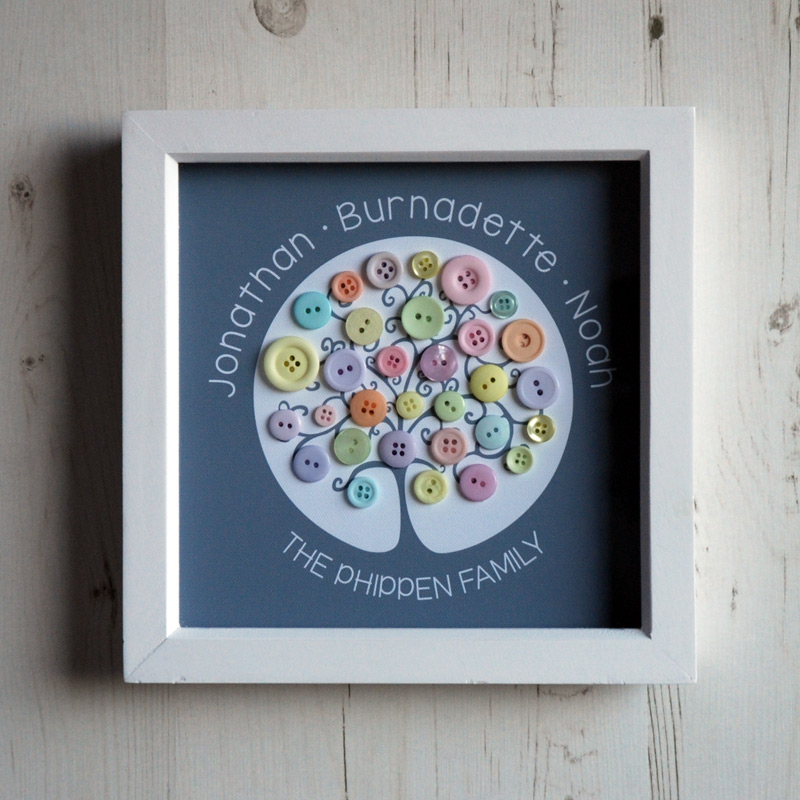 A small family tree with pastel buttons