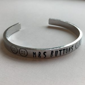 Hand Stamped Cuff Bracelet with bold inked letters