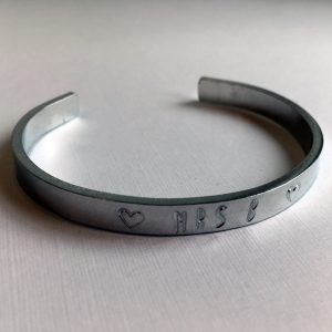 Handstamped Cuff Bracelet - Un-inked Hand Stamped Letters - Personalised
