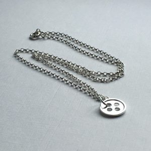 "Our Little Button sterling silver necklace with one button - available with 16"", 18"" or 20"" chain"