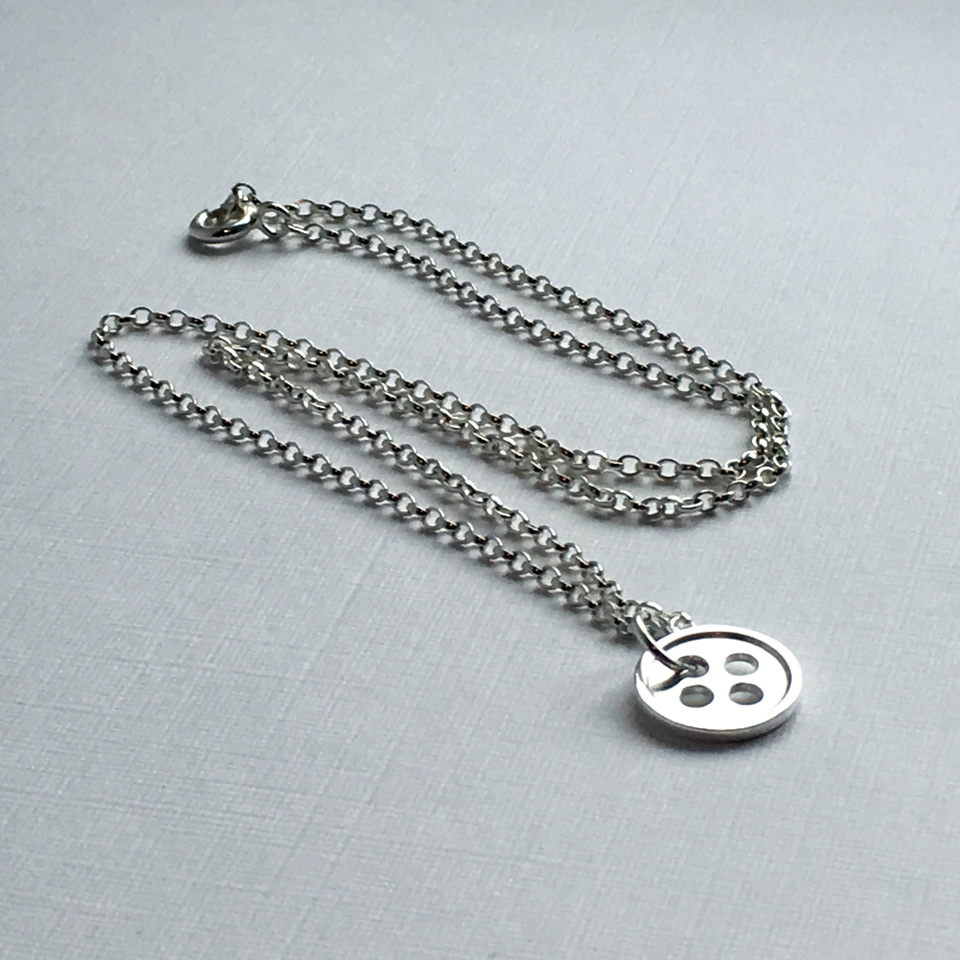 """Our Little Button sterling silver necklace with one button - available with 16"""", 18"""" or 20"""" chain"""
