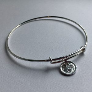 Sterling Silver Bangle with One Sterling Silver Little Button Charm
