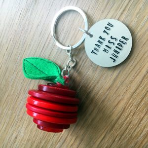 Button Apple Keyring Gift For Teachers With Circular Tag and Inked Personalised Message