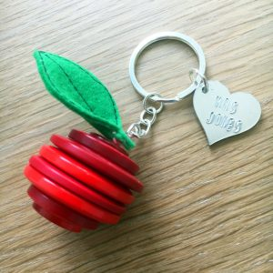 Button Apple Keyring Gift For Teachers With Heart Tag and Uninked Personalised Message